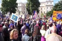 اعتراض مردم انگلیس به برگزیت در میدان ترافلگار