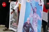 فیلم تشیع نمادین پیکرهای مطهر سردار سلیمانی و ابو مهدی المهندس در شهر القرنه بصره